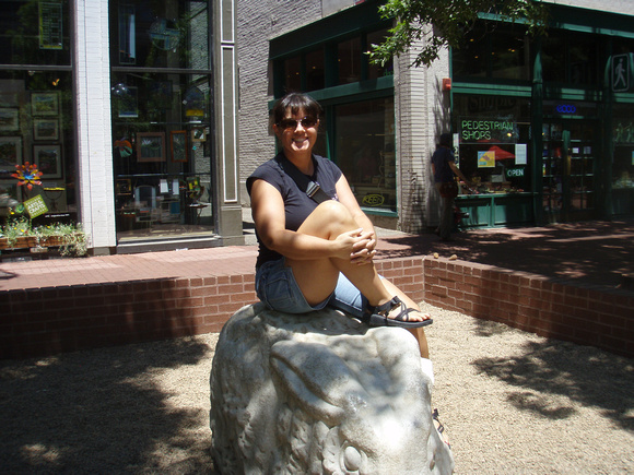 Me sitting on top of a rabbit in downtown Boulder, CO